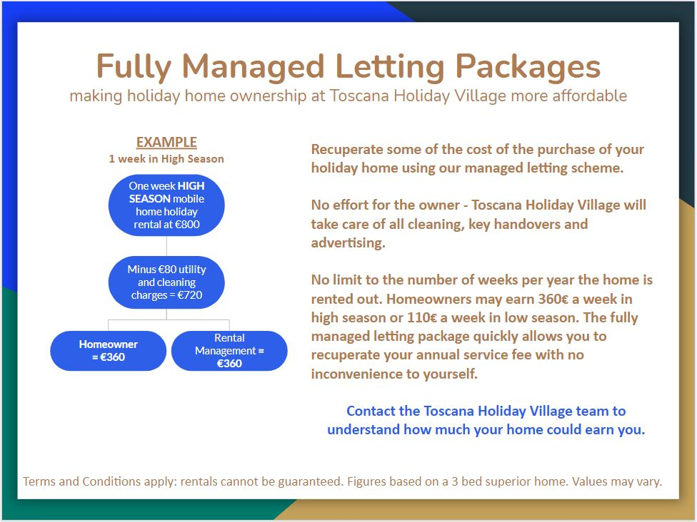 Letting Packages for Mobile Homes in Tuscany Italy
