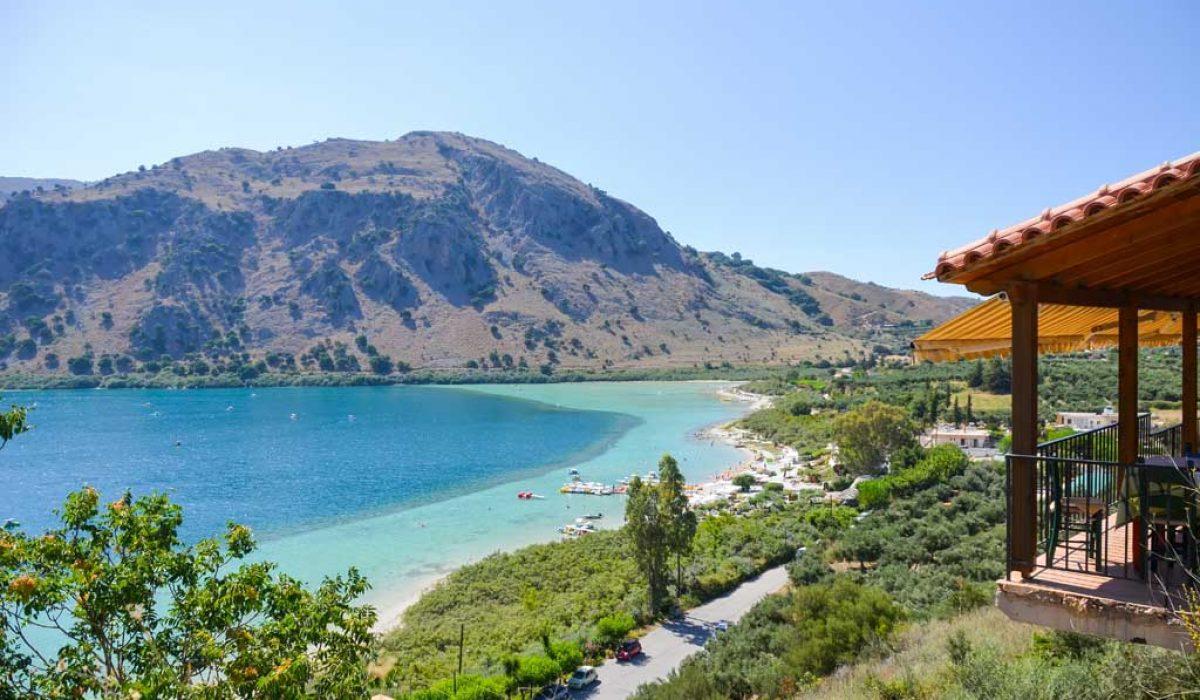 Picturesque Lake Kournas in Crete (Greece)